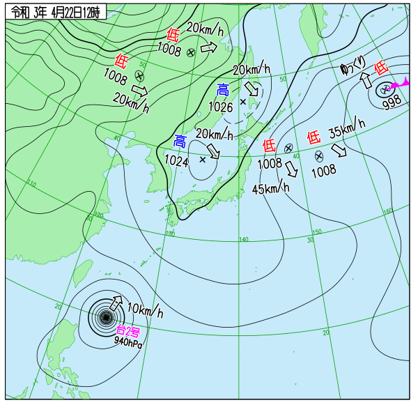 20210421の12時の天気図